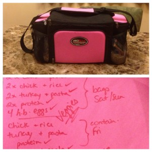 My super efficient packing list... written on a pink Christmas card envelope. At least it's coordinated with my IsoBag...?