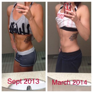 Sept 2013 - days before a competition (around 128lbs) March 2014 - 11 weeks out from a competition (around 145lbs)