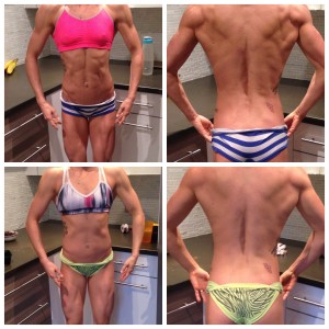 Before and after - pre to post comp body. Top pics are from the week of my competition, bottom are from two weeks after.