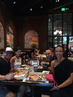 800 Degrees pizza and the Olympia live feed for finals - perfect night with great friends!