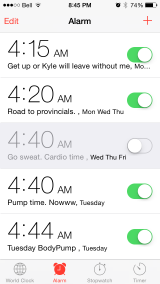 "My actual alarm settings.  Kyle's offended by the ""Get up or Kyle will leave without me"" greeting."