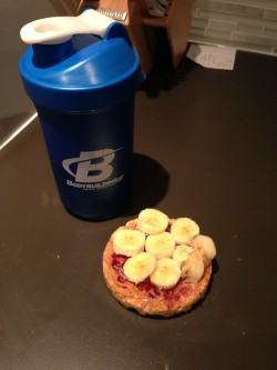A highlight - caramel rice cakes with PB & no sugar added jam, and half a banana sliced on top. When my alarm goes off at 4;15, this is what excites me to get out of bed faster. Pre-workout magic mix in my BB shaker cup to wash it down. Let's be honest, I usually eat more than one of these.