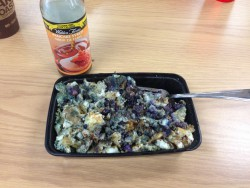 My breakfast every single day, without fail. Egg whites, oats, and blueberries cooked together in a large pan, then broken up in the container. Topped with Walden Farms syrup and enjoyed in our fancy break room at work. With a large Tim Horton's tea, also a breakfast requirement.