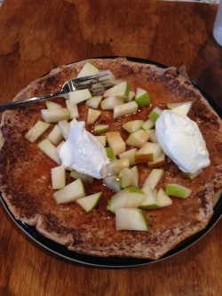Healthy pancake as a fun meal on a weekend. Topped with chopped pear, Walden Farms syrup and FF whipped topping. By far, one of my favorite meals.