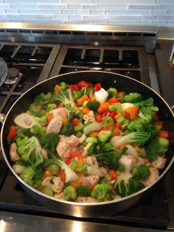 Healthy cooking is colorful. I skipped the wok and went with a large, deep pan. Honestly, the wok is still packed from our move last year... maybe one day it'll resurface.