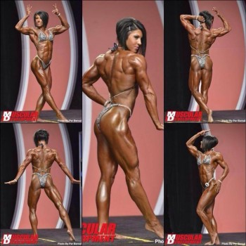 My personal favorite women's physique pro. This category is the second most-muscular in the bodybuilding world. While she's muscular and very lean, she still has feminine qualities (although I know many women would disagree with that).