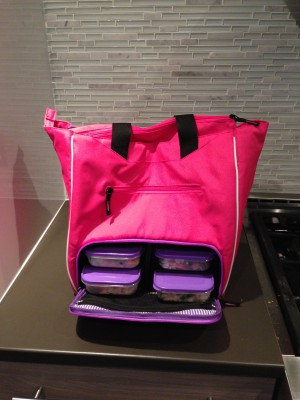 With a cooler space to hold 4 meals and ice packs.  The best part is that it doesn't look like a lunch bag at all.