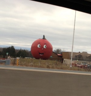 My favorite landmark on the drive to Ottawa - The Big Apple... but when did they paint the creepy face on it??