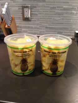 Chopped pineapple fits perfectly back in it's own container.