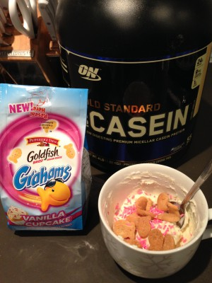 My favorite dessert (which I eat daily) - casein protein mixed with Greek yogurt and topped with Goldfish. And pink sprinkles, just because they're fun.