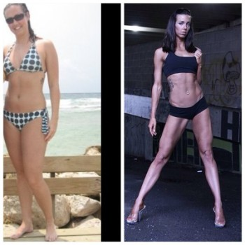 Left: taken during my Master's degree (2011) Right: taken after my third bikini competition (2013)