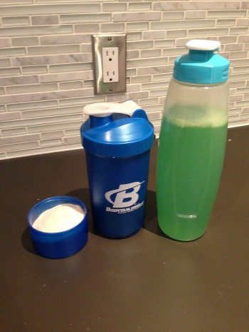 My pre-workout, BCAA's and water for training, and post-workout