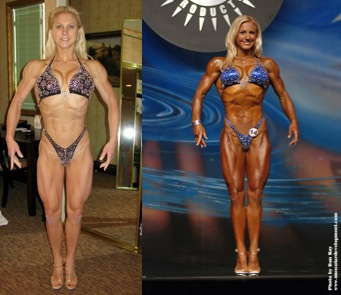 Pre and post tan.  It's hard to see the difference, because in the before picture she's in normal lighting. On stage, she would have looked washed out with no muscle definition.