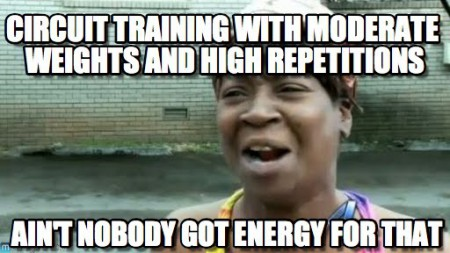 Pretty much my thoughts on circuit training.  Bring back the heavy weights, please!