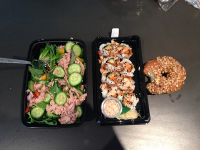 Moderation and balance post-show. Tuna garden salad, chicken sushi, and some dessert... which I had to try before dinner, apparently.