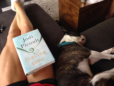 Taking some down time to read for fun (my favorite author's newest book!), and get some quality time in with one of the puppies.  To her, this is the best way to spend time together.