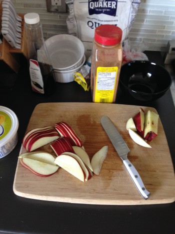 Minimal ingredients needed for dessert, the only thing I had to buy was an apple. One apple made two individual portions.