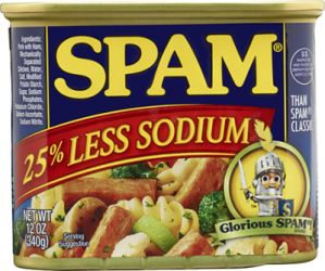 Less sodium than WHAT? I've never had Spam, and I never plan on it.