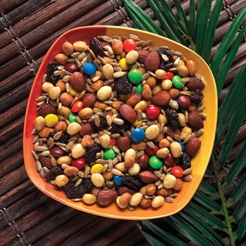 Take control and make your own trail mix so you can skip the candy and use nuts with healthy fats.